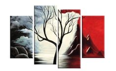 New Beginnings Red Black White Tree Landscape Abstract 4 Panel Canvas Art Print