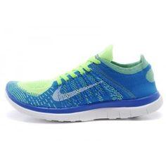 Homme Nike Free 4.0 Flyknit Foot Locker Bleu Volt Blanc