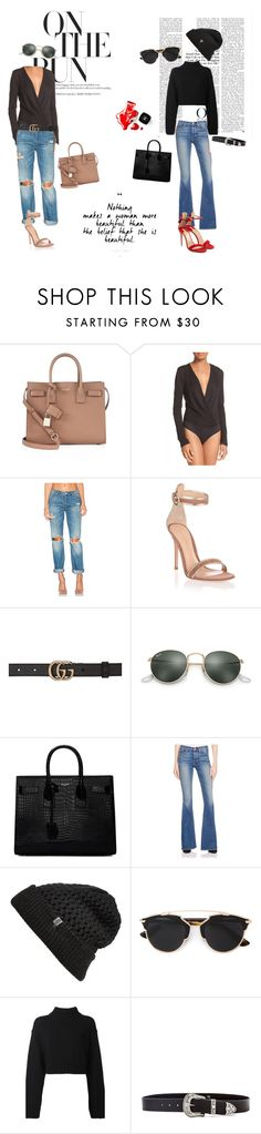 """""""Chic street"""" by ebba-enhorning on Polyvore featuring Yves Saint Laurent, Diane Von Furstenberg, BLANKNYC, Gianvito Rossi, Gucci, Ray-Ban, McGuire, The North Face, Christian Dior and DKNY"""