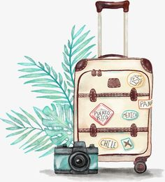 New Travel Luggage Illustration Ideas Luggage Case, Travel Luggage, Passport Travel, Seaside Holidays, Drawing Clipart, Travel Wallpaper, Office Wallpaper, Iphone Wallpaper, Travel Drawing