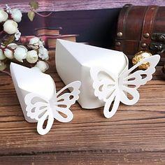 Blanc Gâteau boîtes de faveur avec le papillon - Lot de 10 – USD $ 2.99