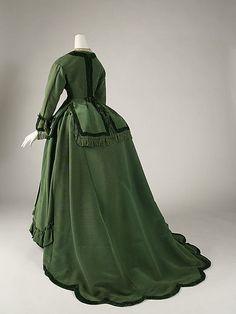 Dress, 1868-1870, Silk, American. Back view.