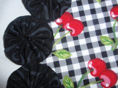 Red cherries on black gingham yo yo doily mat penny by SursyShop, $8.00