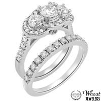 3 Stone Round Diamond Halo Engagement Ring with Accent Diamonds and Matching Diamond Wedding Band available at Wheat Jewelers #engagementring