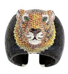 de Grisogono Bold and Beautiful 18K Blackened White Gold Bijoux Galuchat Diamond and Gemstone Cuff Bracelet
