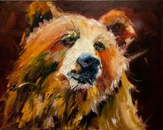 Oil on Canvas That Look- Bear Diane Whitehead Fine Art Gallery Representation Here I have been painting, planning, painting. Bear Paintings, Modern Art Paintings, North American Animals, Wine And Canvas, Daily Painters, Bear Art, Watercolor Animals, Wildlife Art, Texture Painting