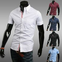 $13.98 / Men's Shirts Slim Fit Short Sleeve Ribbon Casual Shirt via martEnvy. Click on the image to see more! / FREE SHIPPING
