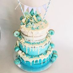 "Dessert Stomach. ""Beautiful blue cake for a seaside first birthday """