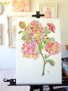 Holiday Hydrangeas Original Watercolor