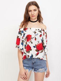 Shop Bardot Floral Print Slit Back Dip Hem Top online. SheIn offers Bardot Floral Print Slit Back Dip Hem Top & more to fit your fashionable needs.