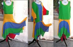 Vintage Rainbow Cotton Set Handkerchief Skirt Two Tops by Remtique, $57.00