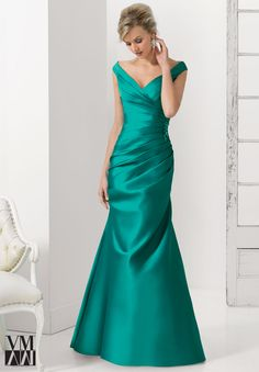 Dress for evening ware, cocktail dresses or social occasions by VM Collection Larissa Satin with Beaded Applique Matching Stole. Available in Teal, Black, Bronze, Wisteria.
