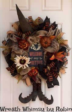 Halloween Burlap & Mesh Rustic Witch Wreath with Primitive Boots and Hat, Fall Wreath, Front Door Wreath, XL Halloween Wreath, Folk Art…