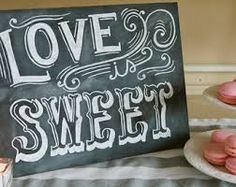 Chalkboard sign for candy station