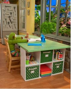 Like this idea -- Can cover dining room table with funky contact paper so it can become a craft table btw: nice scissor wall in the kid craft zone. ha!