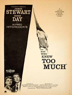1956 Ad Movie Man Who Knew Too Much Alfred Hitchcock Jimmy Stewart Doris YPP4
