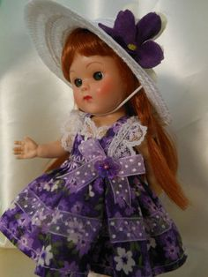 Doll dress and hat made for Ginny or Muffy dolls on ebay