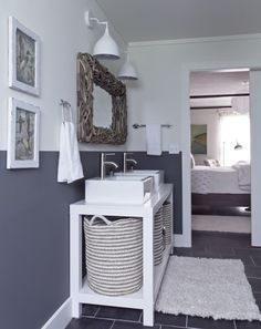 Milk and Honey Home - bathrooms - Benjamin Moore - Downpipe - gray and white bathroom walls, gray and white bathroom, two tone walls Grey Wall Color, Wall Paint Colors, Room Paint, Half Painted Walls, Half Walls, Gray And White Bathroom, Grey Bathrooms, White Sink, White Vanity