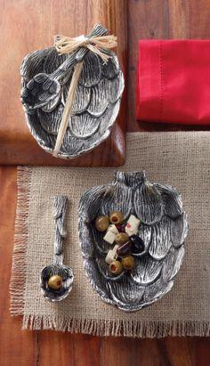 Artichoke Metal Condiment Bowl Set by Mud Pie