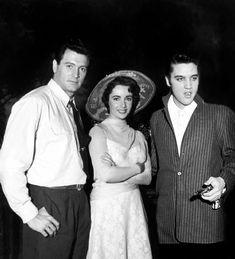 Elvis mit den Schauspielern Elisabeth Taylor           und Rock Hudson in den 50igern