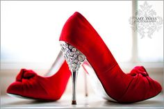 red shoes/ pumps with silver rhinestone bling on heels Red Bridal Shoes, Red Wedding Shoes, Red Wedding Dresses, Bridal Heels, Wedding Heels, Bling Wedding, Purple Wedding, Trendy Wedding, Wedding Bride