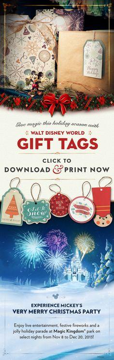 Printable Gift Tags #Christmas #WaltDisneyWorld