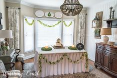 Dining room set up for a wedding cake cutting Buffet Table Settings, Buffet Tables, Beautiful Houses Interior, Christmas Table Settings, Worthing, Home Wedding, Wedding Reception, Rooms Home Decor, Decorating On A Budget