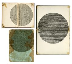 Circles (woodblocks on 19th century bookcovers, unique impressions)