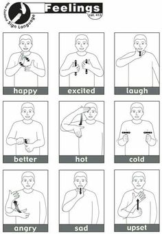 containing 13 essential NZSL signs for Feelings.Sheet containing 13 essential NZSL signs for Feelings. Sign Language Chart, Sign Language Phrases, Sign Language Alphabet, Learn Sign Language, British Sign Language, Sign Language For Kids, Deaf Language, Sign Language Basics, Simple Sign Language