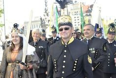 The association of North Bohemian miners introduced new uniforms, one of them is Zbynek Jaks, director Podkrušnohorské Technical Museum (pictured front), accompanied by St. Barbara, plainclothes Lucie Kružíková.