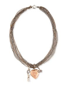 "Antique Pink Gold Heart Locket Necklace with Diamonds, Love & Crown Charm, 17"" by Irit Design - Neiman Marcus."