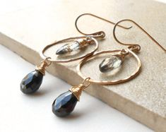Black and Gold Gemstone Dangle Hoop Earrings, Spinel and Quartz Briolettes, Ready To Ship