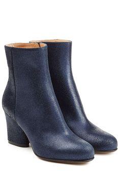 Maison Margiela Coated Leather Ankle Boots - blue