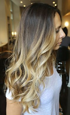 good ombre color for my natural base color ( save money by not double processing!!) and the wavy layered long hair is my favorite look with my hair type.