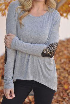 Gray sequin elbow patch top! #sequin #elbow #patch #fall #outfit