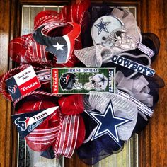 House Divided Football Deco Mesh Wreaths by SissyGirlsCreations, $75.00  I need this in my house......