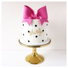 Thirty Birthday Cake - Kate Spade inspired bow and polka dot cake. I want one of these for my birthday. Dot Cakes, Fondant Cakes, Cupcake Cakes, Pretty Cakes, Beautiful Cakes, Amazing Cakes, Kate Spade Party, Kate Spade Cakes, Decoration Patisserie