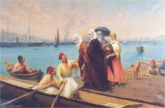 Women Boarding a Caique, late 1890s, by Fausto Zonaro (Italian,1854–1929)