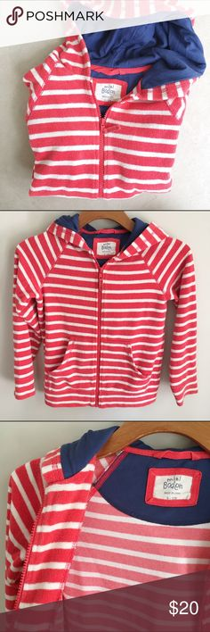 Mini Boden Terry Cloth zip up hoodie Good used condition. Coral/orange stripes, with navy lined hood. Body is not lined. Size 9-10Y. Mini Boden Shirts & Tops Sweatshirts & Hoodies