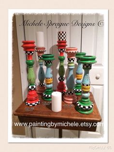 Whimsical wood weathered candlesticks by paintingbymichele on Etsy