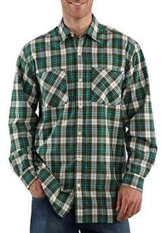 Carhartt Mens S254 Long Sleeve Lightweight Plaid Shirt - Teal Blue | Buy Now at camouflage.ca