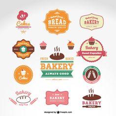 Vetor emblemas de padaria confeitaria