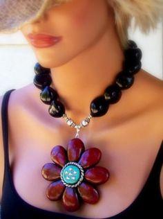 Daisy Red Necklace by JewlzJunkieTX on Etsy, $58.00