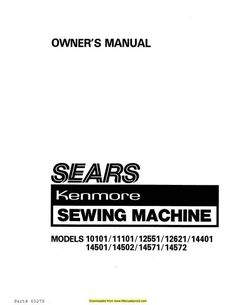 Kenmore 158.220 Model 22 Sewing Machine Instruction Manual