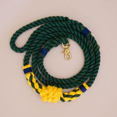 Buoy Rope dog handmade leash - pet supplies - dog leash - Soft cotton rope leash -Green & yello Hand made cotton rope leash - The rope ends are spliced then whipped with Lasso's original knots for durability.
