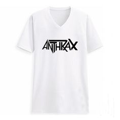 Heavy Metal Anthrax Letter Print T-shirt V Neck Man Tshirt Tee Shirts Rock Punk Music Clothes White T Shirt Male Clothes #Affiliate
