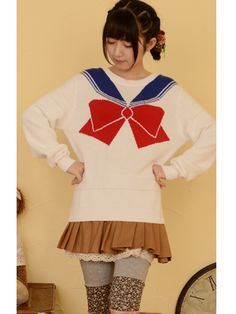 This sailor moon bow sweater is super cute for all sailor moon fans! Wear this sweater as everyday outfit to your school or build a Halloween cosplay costume with it!  #sailormoon