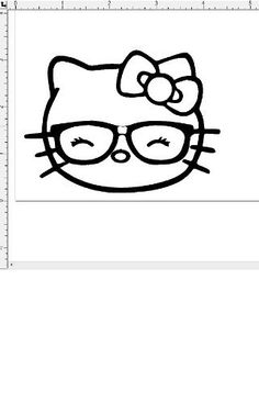 hello kitty like geek nerd glasses wink car window vinyl decal sticker you pick color - Coloring Pages Kitty Nerd