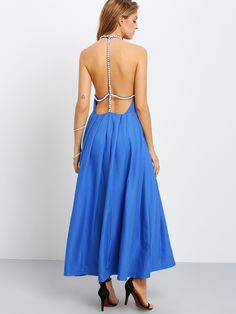 Buy it now. Blue Pearl-trimmed Neck Backless Pleated Dress. Blue Sexy Polyester Halter Sleeveless Shift Long Pearls Plain Fabric has no stretch Spring Slip Dresses. , vestidoinformal, casual, camiseta, playeros, informales, túnica, estilocamiseta, camisola, vestidodealgodón, vestidosdealgodón, verano, informal, playa, playero, capa, capas, vestidobabydoll, camisole, túnica, shift, pleat, pleated, drape, t-shape, daisy, foldedshoulder, summer, loosefit, tunictop, swing, day, offtheshoulder...
