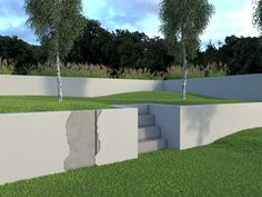 Retaining wall covered with Platoflex plates.